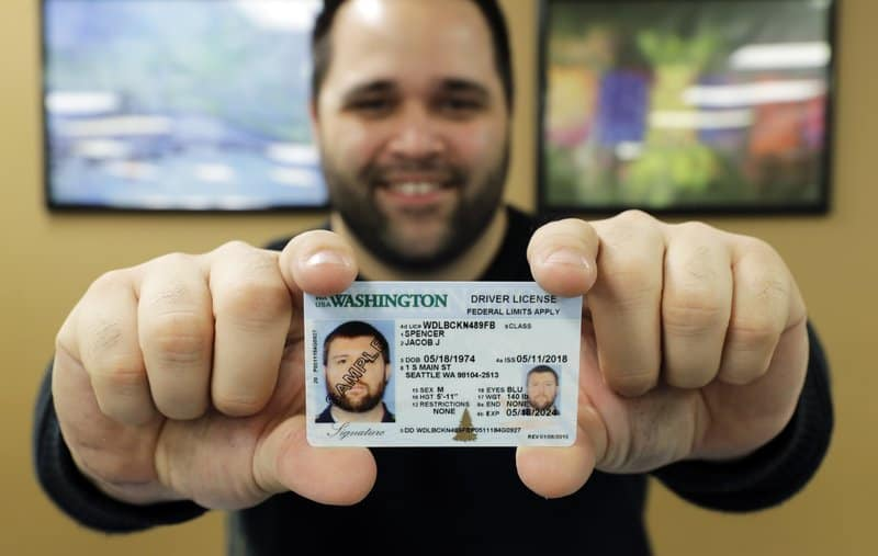 man showing his id card